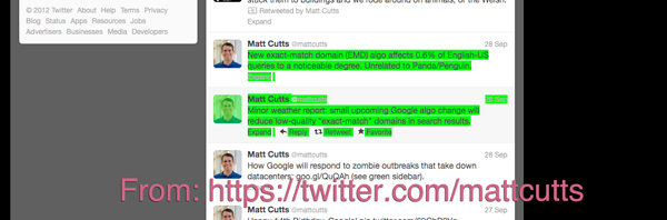Exact Match Penalty Image Matt Cutts Twitter Account Announced September 2012 Penalty